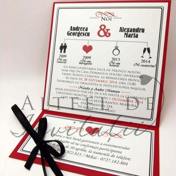 Invitatie nunta Happy end alb rosu si negru