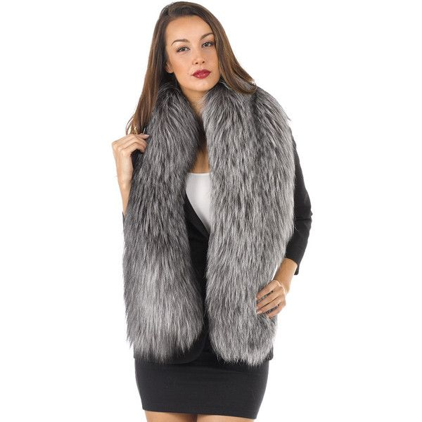 Lenore Marshall The Addison Silver Fox Fur Stole ($1,500) ❤ liked on Polyvore featuring accessories, scarves, silver, fox fur shawl, lightweight scarves, silver stole, silver fox fur stole and silver scarves