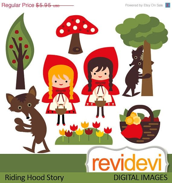 55 OFF Clipart Riding Hood Story 07443.. Commercial by revidevi, $2.68