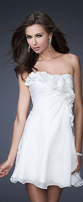 Elegant Chiffon White Natural A-Line Asymmetric Evening Dresses In Stock homecoming