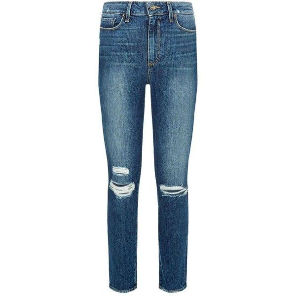 Paige Denim Lexington Destructed Hoxton Ankle Peg Jeans ($385) ❤ liked on Polyvore featuring jeans, ripped jeans, ripped denim jeans, blue ripped skinny jeans, blue jeans and vintage skinny jeans