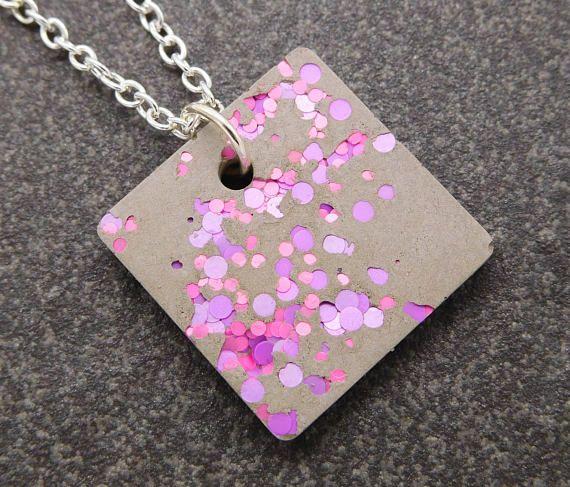 Pink and purple neon concrete necklace / neon necklace, neon jewelry, concrete necklace, gift for architect, cement pendant, urban elegance