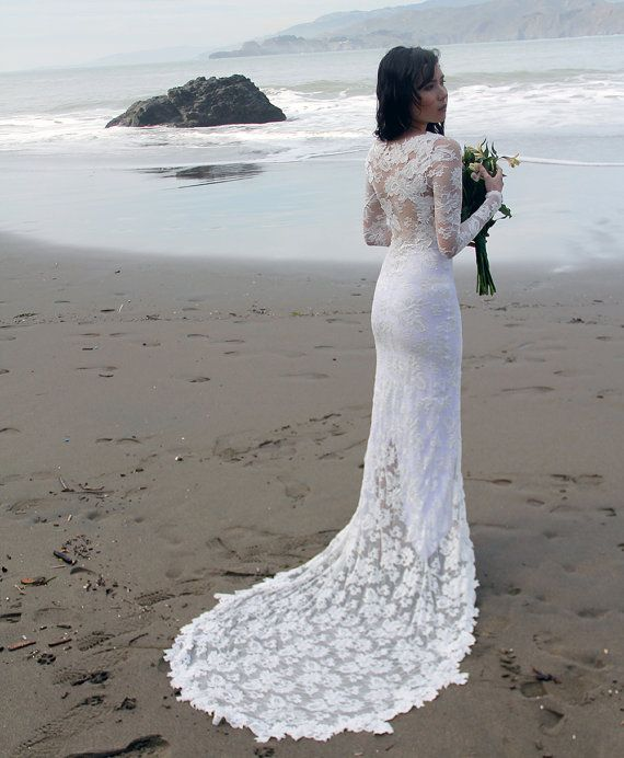 Long Sleeve Wedding Dress French Lace with by WearYourLoveXO