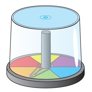 Spinner made from CD holder - I'm thinking a comprehension question on each color . . .