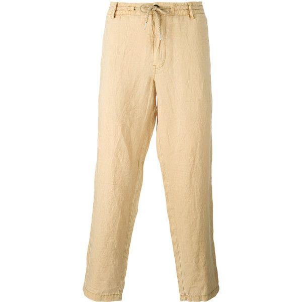 Armani Jeans Drawstring Trousers ($161) ❤ liked on Polyvore featuring men's fashion, men's clothing, men's pants, men's casual pants, mens elastic waistband pants, mens elastic waist pants, mens stretch waist pants, mens cropped pants and mens drawstring pants