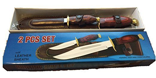 """2 Piece Hunting Knife Set Wood Handle Leather Sheath (Small-8'') (Large-14"""") Price $36.99"""