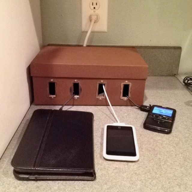 Diy charging station made from a shoe box crafts Diy cell phone charging station