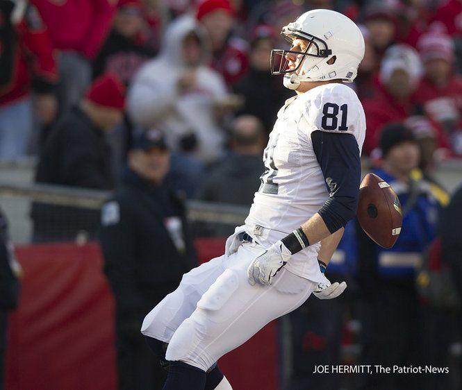 PENN STATE – FOOTBALL 2013 – Penn State tight end Adam Breneman scores on a 68-yard touchdown catch and run during the first quarter at Camp Randall Stadium. Penn State upset Wisconsin, 31-24. Joe Hermitt, PennLive.com