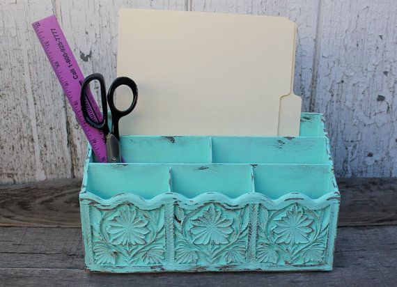 Upcycled Vintage Desk Organizer  Mint Office by TheSpeckledEgg2011, $32.00