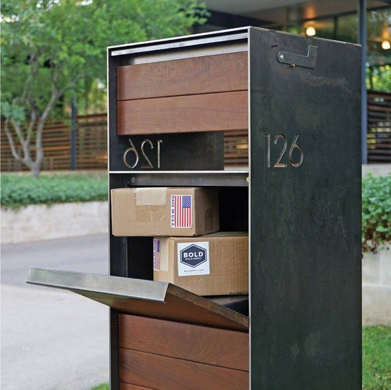 Stratford Parcel Mailbox (Steel + Ipe Wood) – Custom Steel Modern Metal Letter Box Contemporary Personalized Metal Post Box Address Numbers