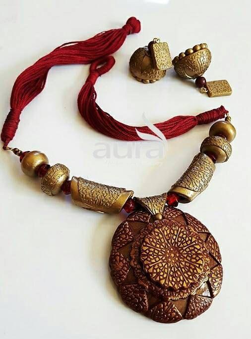 Handmade Indian polymer clay neckset Choker Antique gold Maroon with Jhumkas
