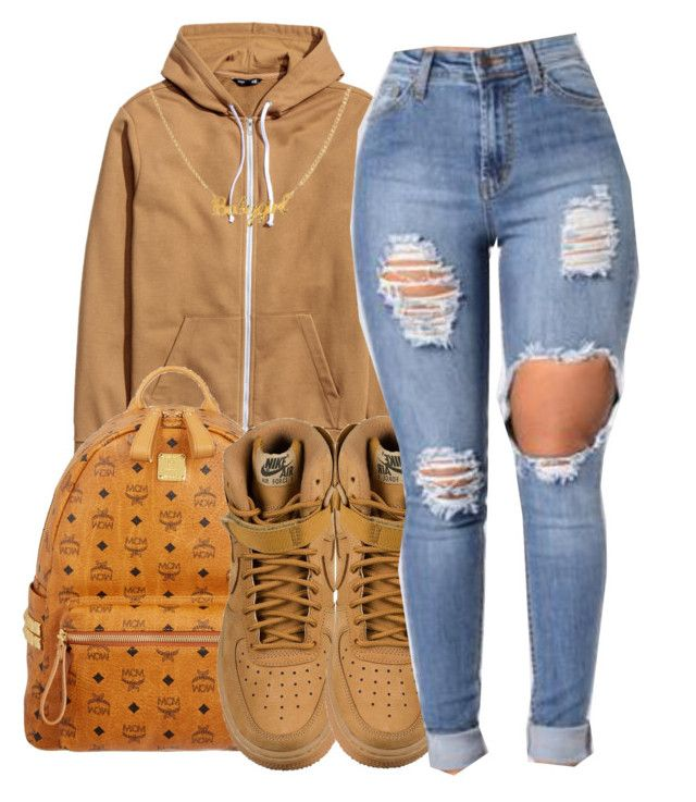 """""""School😒🖕🏽"""" by maiyaxbabyyy ❤ liked on Polyvore featuring MCM and NIKE"""