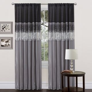 @Overstock - This unique curtain panel features a rod pocket on both the top and bottom allowing the panel to be hung from either end. Faux silk combined with sparkling black and silver sequins create a dramatic effect for any room.http://www.overstock.com/Home-Garden/Black-Grey-Faux-Silk-84-inch-Night-Sky-Curtain-Panel/7194870/product.html?CID=214117 $34.49