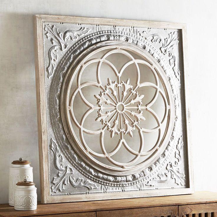 Galvanized Medallion Wall Decor White Wash