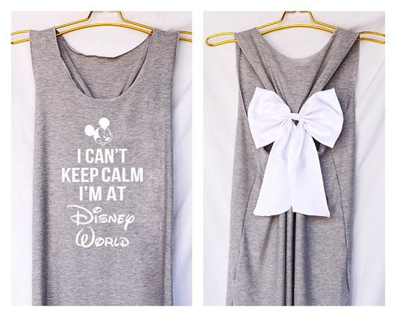I'can keep calm i'm at Disney world Mickey Tank Premium with Bow : Workout Shirt…