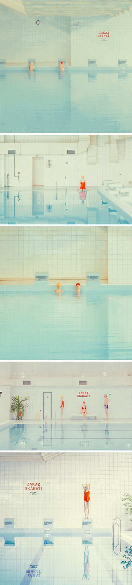 """Oh. Yes. I love this series, titled """"Swimming Pool"""" so, so, so much. The simplicity, the color palette, the little bits of perfectly placed text. Sigh. This is the clean and striking work of Slovakian"""
