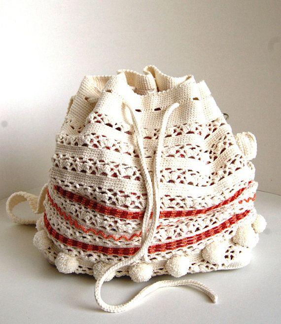 Crochet summer bag  Crochet shoulderbag with beads  Crochet