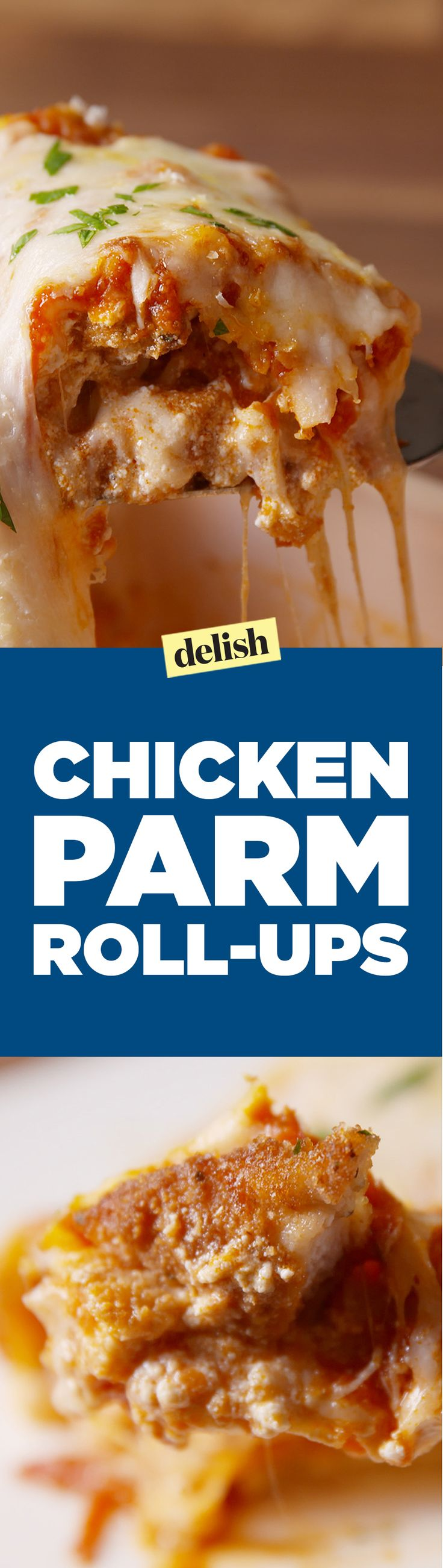 Chicken parm roll-ups are the smartest new way to use lasagna noodles. Get the recipe on Delish.com.