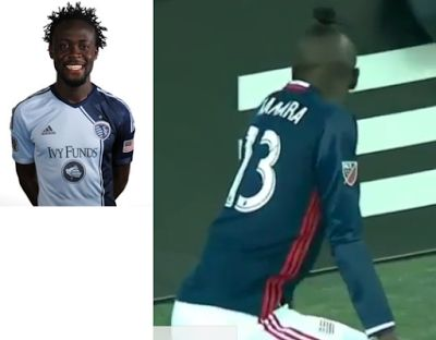 Footballer gets yellow card for twerking to celebrate a goal...lol    Sierra Leonean footballer Kei Kamara who scored in New Englands 3  0 win over Montreal Impact on Sunday gave the fans something different from what they've been seeing on the pitch by squatting down to Twerk. This got him a yellow card. Watch the video after below:  A video posted by Funny_African_Pics (Official) (@funny_african_pics) on Oct 24 2016 at 1:50am PDT   Sport Sports