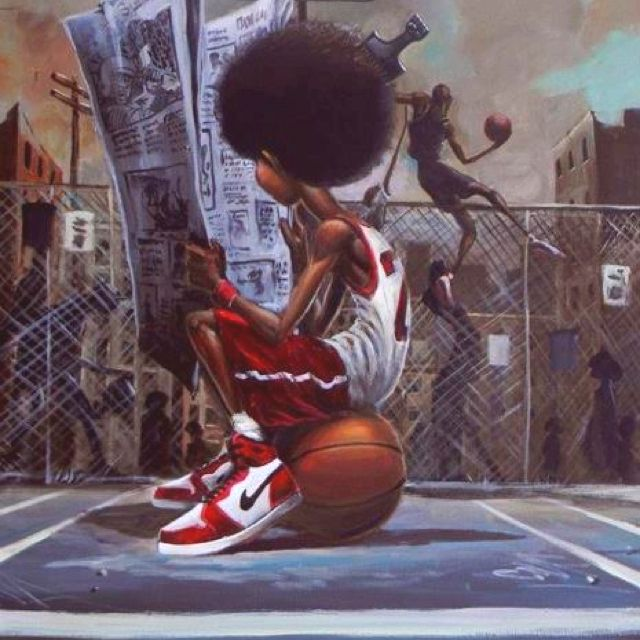 Frank Morrison...basketball Afro player...I choose this one because of the way the background is kinda essential to the artwork and how the figurea back is and his interaction with the ball.