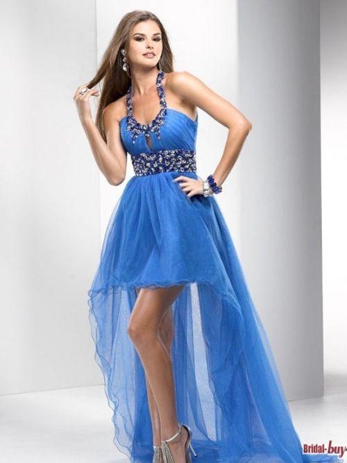 Unique high low blue chiffon party dress dress pinterest