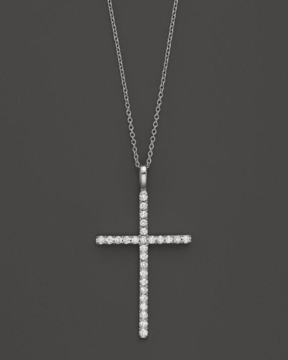 Diamond Cross Necklace in 14K White Gold, .35 ct. t.w.