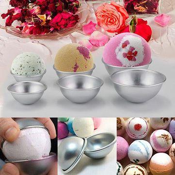 6 pcs/set Aluminum Bath Bomb Molds 3 size DIY Bath Fizzy Sphere Round Ball Molds