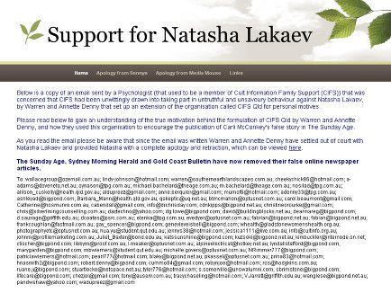 Support for Natasha Lakaev