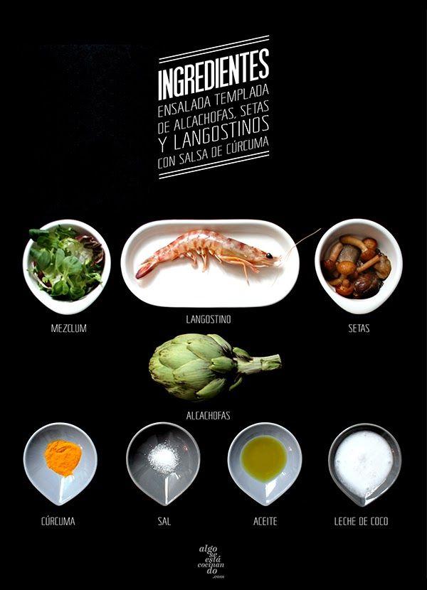 Ingredientes para una ensalada templada de alcachofas, setas y langostinos con salsa de cúrcuma.