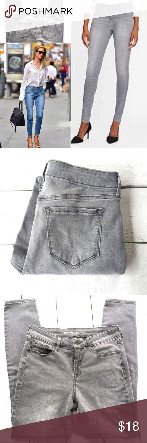 "Old Navy Rock Star Mid Rise Grey Size 8 Pre Owned. As good as new. Only worn and washed once. Old Navy Rock Star Jeans.  The favorites! Mid rise, wonderful-soft fabric, comfortable and stretchy. Slimming cut Mid rise. Suitable for curvy/hourglass and all body shapes.  Size 8. True to size.  Pls check measurements for a perfect fit.  Waist 14.5"" Hip 17.75"" Rise 10"" Inseam 28.75"" Length 37.75"" Bundle two or more items and save!  I posted a guide to denim online shopping for more help in case…"