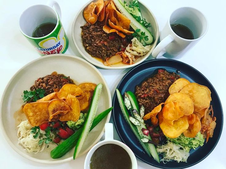 Great to be home for a night and eating a Delicious dinner with my girls.  Their fav...paleo nachos with broth and kraut.  The girls like to spoon the Mexican mince onto the crispy sweet potato chips and top with guacamole, salsa and kraut and eat it like finger food. #paleo #guthealth #foodismedicine #getthekidsinvolved