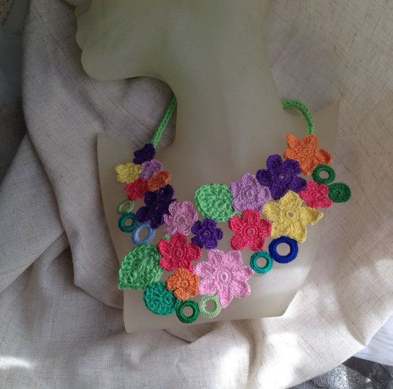 Free form crochet necklace Garden party III. by FiBreRomance