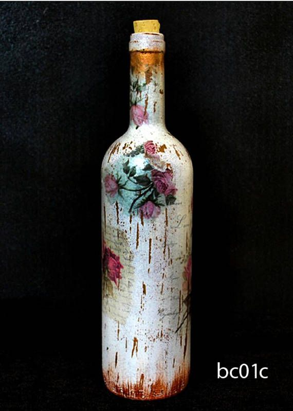 Upcycled Decorative Glass Bottle With Vintage Style Perfect For Candlestick Or Deco Decoupage Glass Bottles Decoration Wine Bottle Crafts Bottles Decoration