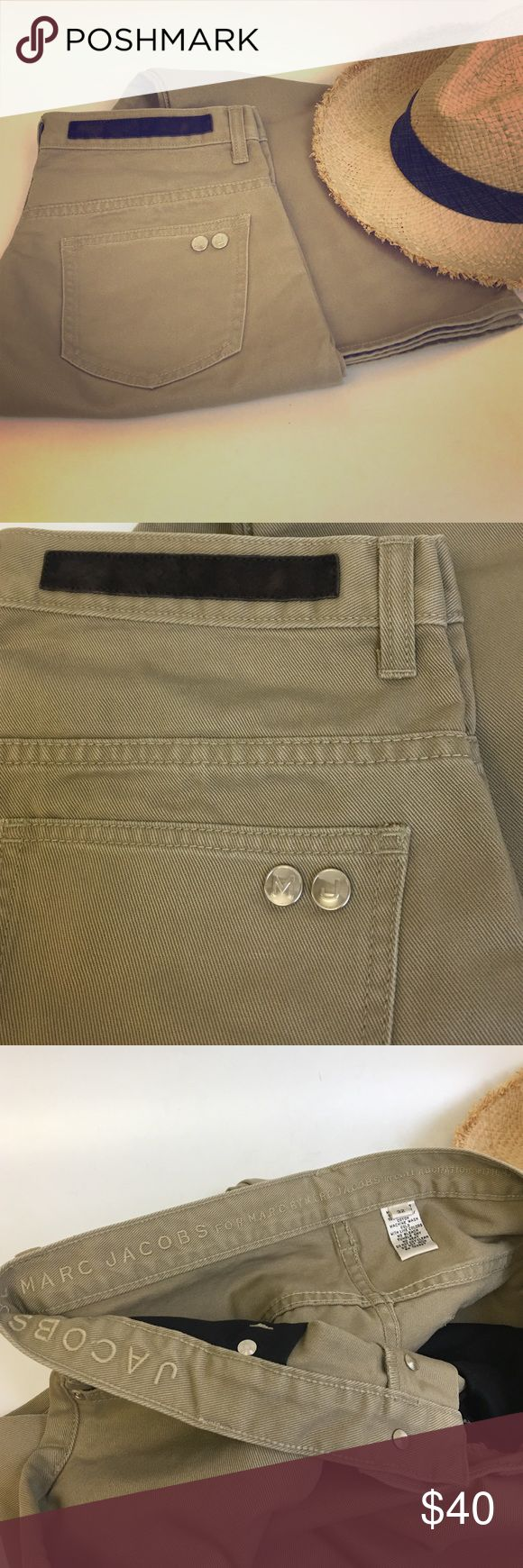 Marc Jacobs Cotton Twill Jeans Khaki Marc Jacobs Slim Straight Leg Khaki Jeans Pants. NWOT. 32 waist, inseam is long but can be shortened no problem at your local dry cleaner. MJ is known for their long inseams. 32x38. Nice hardware details :) Marc by Marc Jacobs Jeans Slim Straight