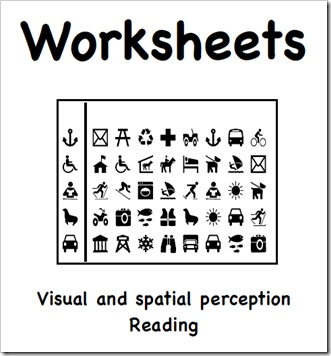 Printable sample worksheets created with iDraw - visual and spatial perception / reading