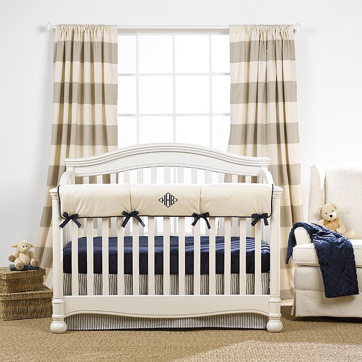 Canvas Stripe Curtains | Boys Nursery Design | Liz and Roo | Liz and Roo Fine Baby Bedding