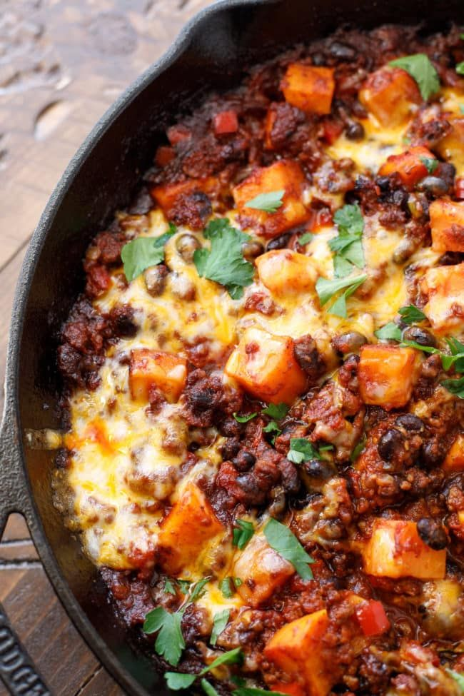 Sweet Potato Chili Casserole Recipe Don T Miss This Easy Skillet Dinner Recipe In 2020 Sweet Potato Chili Recipe Ground Pork Recipes Chili Casserole
