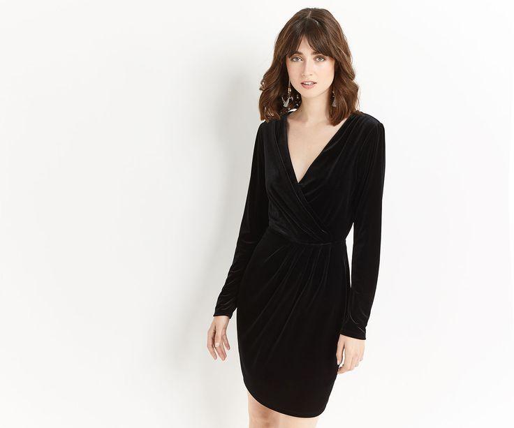 VELVET ROMANA WRAP DRESS   Oasis