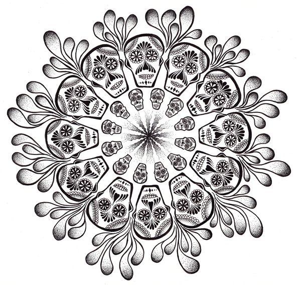 Mandala images to print google search mandala for Sugar skull mandala coloring pages