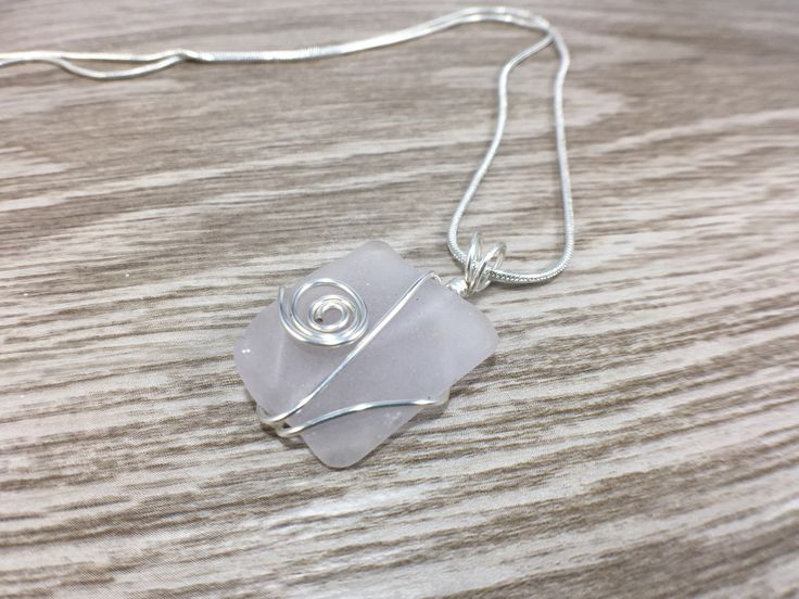 Amethyst Sterling Silver Sea Glass Necklace, Purple Wrapped Sea Glass Pendant, lavender Present idea for Mom, Best Friend, Mermaid Birthday