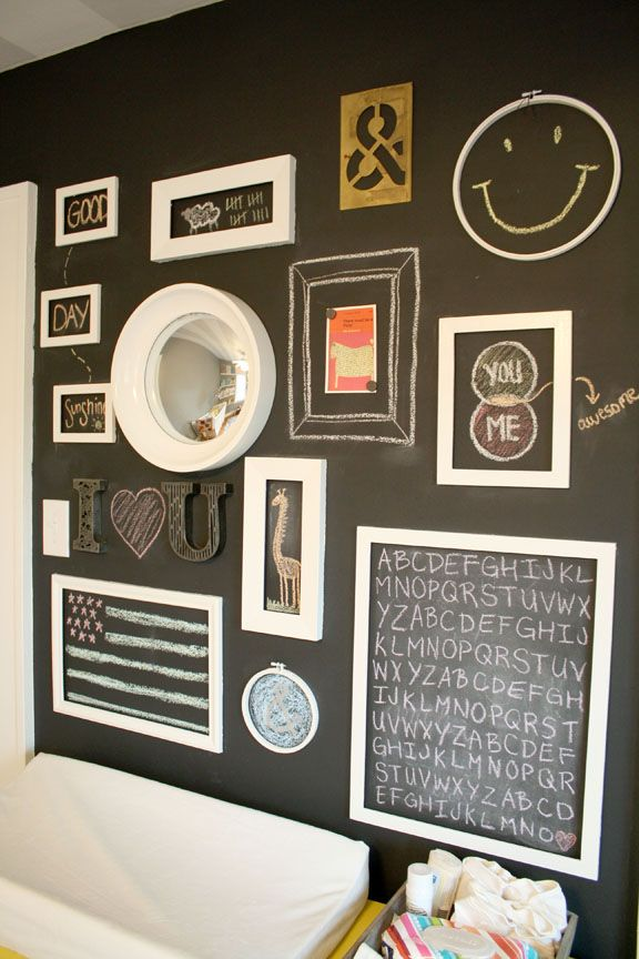 Chalkboard paint with a layer of magnetic paint underneath. Frames were painted and affixed to the wall with velcro (so they can be removed but little hands can't knock them off). Love that you can change the entire look of the wall with a little bit of colored chalk and create your own revolving art gallery! Or great idea for a wall in the kitchen :)