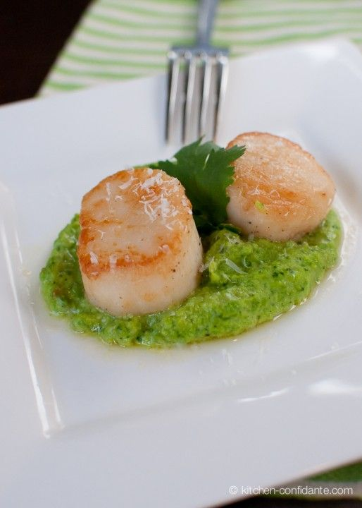 Everybody's Doing It | Cilantro Pea Purée {with Seared Scallops} - just the recipe I've been looking for!