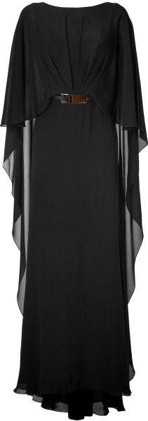 Elie Saab Black Black Belted Silk Georgette Caplet Gown