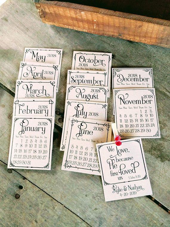 Rustic Wedding Favors Calendar Personalized Wedding Magnet Favor