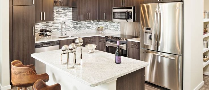 Get Arlington VA Apartments That Suit Your Ability: Marvelous Arlington VA Apartments With Small Kitchen Remodeling Granite Kitchen Table And Cheap Kitchen Cabinet With Stainless Steel Refrigerator Along With Laminate Wood Flooring ~ surrealcoding.com Apartments Inspiration