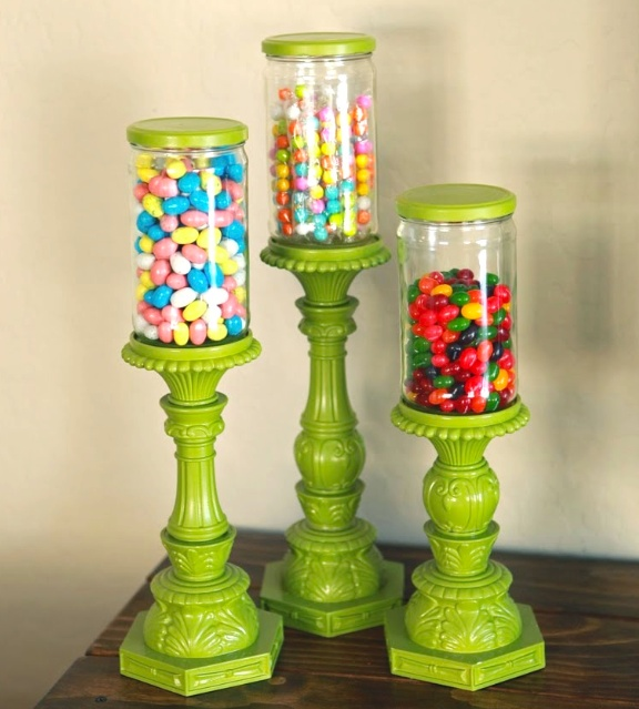 Save your glass jars and make candy stands!