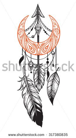 Arrow in ethical pattern with feathers and crescent in style tattoo Dotwork