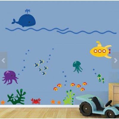 ocean sunset cartoon mural - Google Search