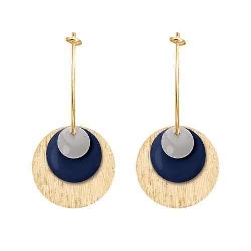 ENAMEL Copenhagen drops earring coin, light grey, dark blue, gold