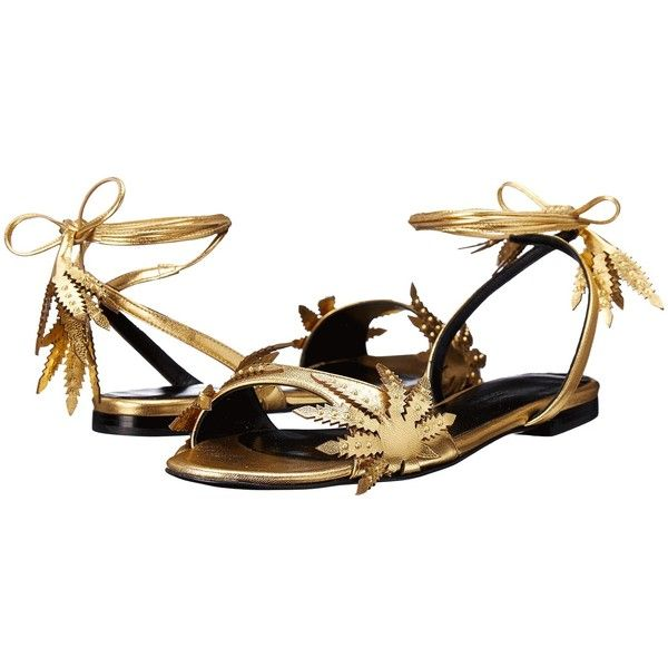 Eugene Riconneaus Leafeetia Flat (Gold) Women's Flat Shoes ($686) ❤ liked on Polyvore featuring shoes, flats, studded flats, evening shoes, gold flats, metallic gold shoes and special occasion shoes